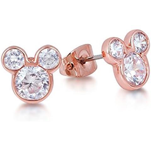 Disney Couture-Collana placcata in oro rosa, cristallo, orecchini a lobo a forma di testa di