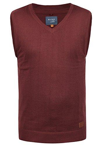 Blend Larsson Herren Strickpullover Pullunder Feinstrick Pulli Ärmellos mit V-Ausschnitt aus hochwertiger Baumwollmischung Meliert, Größe:L, Farbe:Andorra Red (73811)