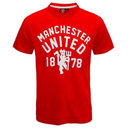 Manchester United FC - Herren T-Shirt mit Teufelsmotiv - Offizielles Merchandise - Geschenk für Fußballfans - Rot - S -