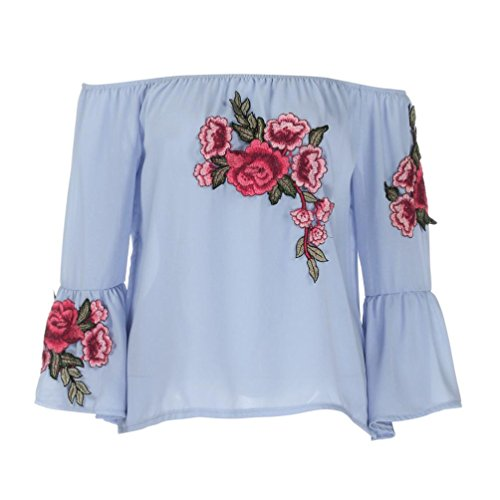 Hemd damen Kolylong® Frauen elegante trägerlose Rose Stickerei lange Ärmel Bluse Mode Lose T-Shirt Hemd tank tops (L, Blau) (Rundhalsausschnitt Baumwolle Chiffon)