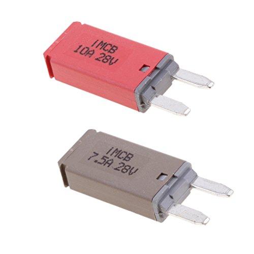 MagiDeal 2 Stk. Autos KFZ ATM Mini Sicherung Blade Fuse Flachsicherung Stromunterbrecher 7.5A+10A 10a Mini Blade Fuse