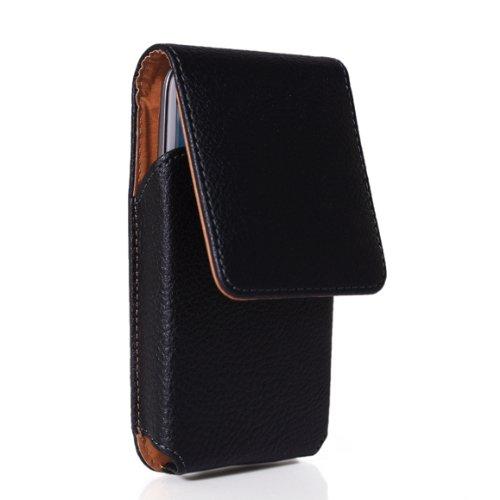 likesea (Schwarz) Stylisches Holster Clip Fall Gürtelschnalle Leder Tasche für Samsung Galaxy S6/S5/S4/S3, LG Optimus L7, Sony Xperia Z/Xperia S, HTC One M7, Nokia Lumia 925/928/929