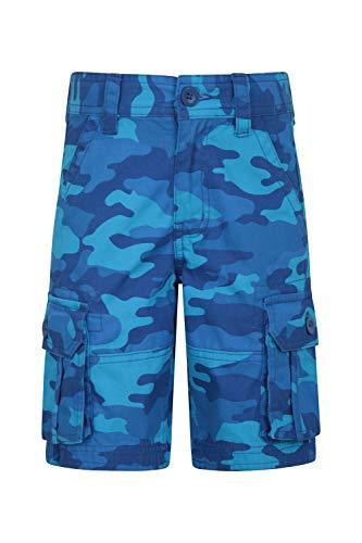 Mountain Warehouse Kinder Cargoshorts mit Tarnmuster - Camo Sommershorts aus 100% Baumwolle, leichte Kurze Hose, mehrere Taschen, Pflegeleichte Tarnhose - Für Wandern Blau 140 (9-10 Jahre)