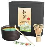 Aricola, Set di 3pezzi per tè matcha, composto da ciotola, cucchiaio e frullino di bambù in confezione regalo, colore verde, turchese, viola- turchese