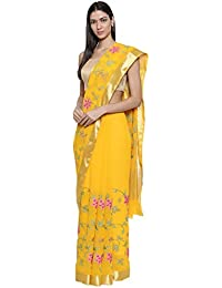 CLASSICATE From the house of The Chennai Silks - Cross Embroidery Georgette Saree (CCMYFA8809, Yellow, Free Size)