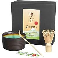 Juego de té matcha de 3piezas, en antracita púrpura, verde o turquesa, compuesto de una taza para té matcha, una cuchara de té matcha y una escobilla para té matcha de bambú en caja Original Aricola turquesa