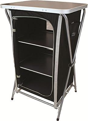 Highlander Easy Fold 3 Shelf Camp Cupboard - Black/Silver
