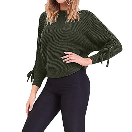 Pullover Sweater Damen Sweatshirt, SUNNSEAN Bluse Winter Frauen Winter Gestrickte Schulter Langarm Tops Strickjacke T-Shirt Langarmshirts Jumper