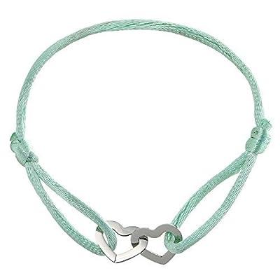 Bracelet double Coeur sur cordon - Bracelet Amour - Bracelet couple