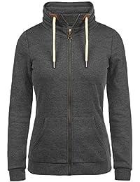 DESIRES Vicky Zipper Damen Sweatjacke Zip-Jacke mit Fleece-Innenseite und Stehkragen aus hochwertiger Baumwollmischung Meliert