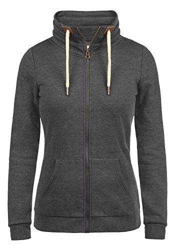 DESIRES Vicky Zipper Damen Sweatjacke Jacke Sweatshirtjacke Mit Stehkragen, Größe:L, Farbe:Dark Grey Melange (8288)
