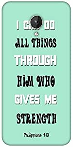 Snoogg Him Who Gives Me Strength Quote Designer Protective Back Case Cover For Micromax Canvas Spark Q380