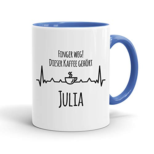 True Statements Tasse Finger weg Dieser Kaffee gehört Wunschname personalisiert - personalisierte Kaffeetasse mit Wunsch-Name ? spülmaschinenfest ? tolles Geschenk zu Weihnachten, innen cambridge blau
