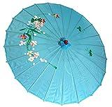 AAF Nommel ® Sonnenschirm 003, Dekoschirm aus Kunstfaser, wasserfest in blau aus Bambus
