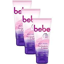 bebe Anti-Pickel Feuchtigkeitscreme | Gesichtspflege mit Salicylsäure für unreine Haut | 3 x 100ml