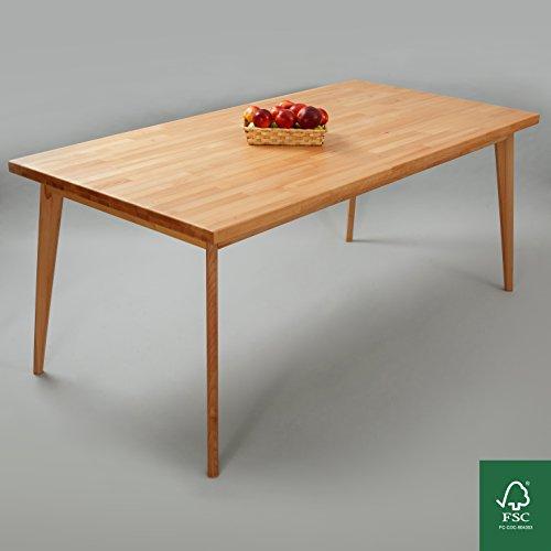 Hans Buche Esstisch Massivholz Tisch Natur 100% 140x90x75 cm Esszimmertisch