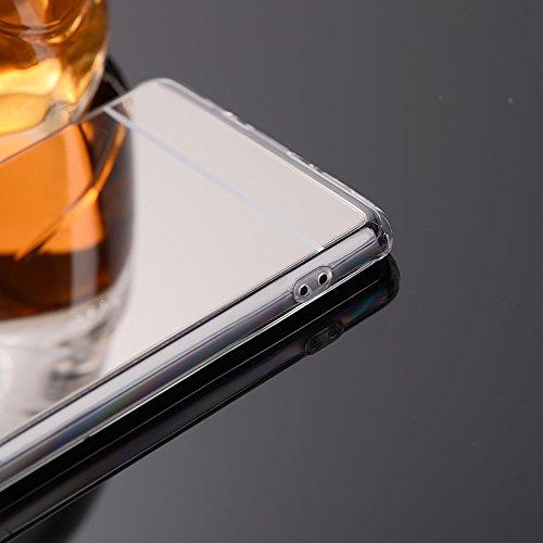 Sycode Custodia Specchio in Silicone per iPhone 8 Plus,Diamante Mirror Cover per iPhone 8 Plus,Strass Bling Tpu Bumper Case per iPhone 8 Plus/7 Plus 5.5 Lusso Moda Donne Della Ragazza Ultrasottile Lu Specchio,Oro