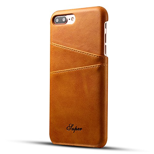 Cover per iPhone 7 Plus Portafoglio,Custodia per iPhone 8 Plus, Bonice Plaid Leather Flip Cover Copertura con Morbido Silicone Case e Porta carte di credito Con Supporto Borsa del Telefono Custodia in Giallo