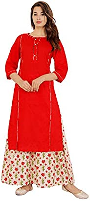 Honeymeloom Kurti with Plazzo for Women Cotton Relaxed Solid Colors