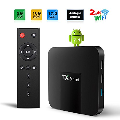 SOFOBOD TX3 MINI TV BOX ANDROID 7.1 TV BOX 2GB/16GB 4K TV S905W QUAD CORE H.265 DECODING 2.4GHZ WIFI - 2GB/16GB