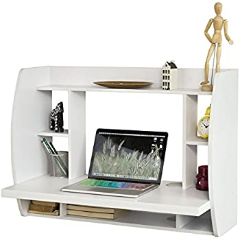 sobuy fwt18w white wallmounted table desk with storage shelves and