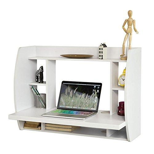 SoBuy® Mesa de Ordenador Armario de Pared, Mesa de Escritorio de la computadora Tabla, Blanco, FWT18-W, ES (Blanco)