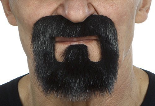 ende Neuheit Inmate Fälscher Bart Falsch Gesichtsbehaarung Kostümzubehör für Erwachsene Schwarz Glänzend Farbe ()