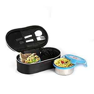 Cello Max Fresh Click Steel Lunch Box Set, 300ml, Set of 2, Blue
