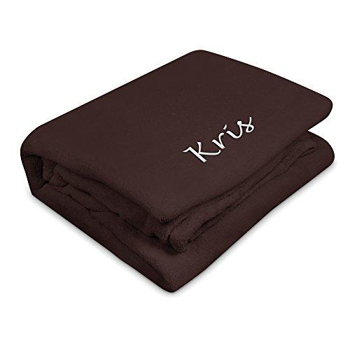 Kuscheldecke mit Namen Kris bestickt - Farbe Braun - personalisierte Decke, Wolldecke