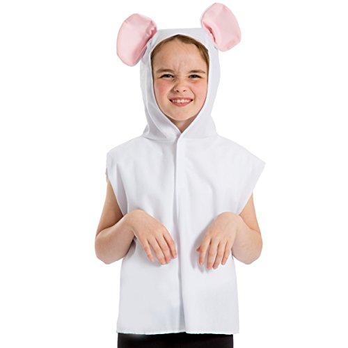 Maus Weiße Kostüm - Unbekannt Charlie Crow Maus Kostüm für Kinder - Weiß - Einheitsgröße 3-8 Jahre.