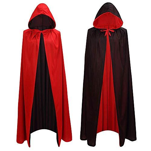 Adisputent Vampir Umhang Doppelseitig Stehkragen mit Kapuze Schwarz Rot Cape für Kind Erwachsene Halloween Kostüm Theater Dracula Mantel Kapuzenumhang Mit Kapuze (Cape Für Erwachsenen Theater Kostüm)