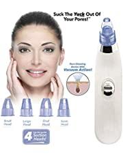 VENCY 4 In 1 Blackhead Whitehead Extractor Remover Device Acne Pimple Pore Cleaner Vacuum Suction Tool With 4 Interchangeable Suction Head For Men And Women