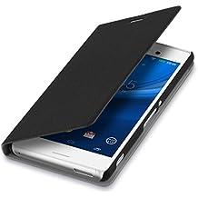 kwmobile Funda para Sony Xperia M4 Aqua - Flip cover Case para móvil en cuero sintético - Estilo libro plegable negro