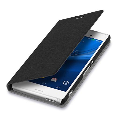 kwmobile Hülle Flip Case für Sony Xperia M4 Aqua - Aufklappbare Schutzhülle aus Kunstleder Tasche im Flip Cover Style in Schwarz