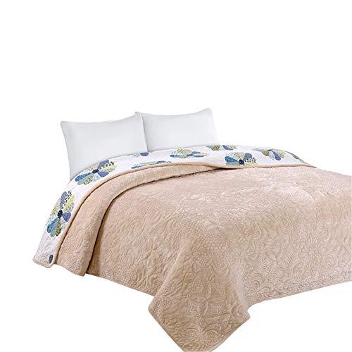 Shamdon Home Collection Couvre-lit en Flanelle de Luxe sur l'autre côté en Polaire, Beige, 200x230 cm