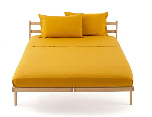 Lenzuolo piano sopra zucchi clic clac percalle di puro cotone letto matrimoniale cm 250 x 290 100% made in italy (giallo - 1465)