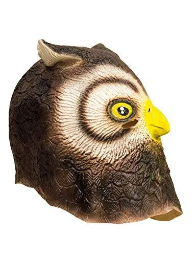 Luxuspiraten - Kostüm Accessoires Zubehör Tier Latex Maske Eule Uhu Owl, perfekt für Karneval, Fasching und Fastnacht, Braun