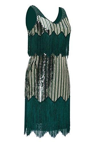 Metme Damen der 1920er Jahre Vintage Fransen Flapper Kleider große Gatsby Party Prom Kleid Grün