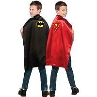 Superman - Batman - Reversible Cape - Official Licensed DC Comics Superhero Childs Fancy Dress Cape. One Size Child
