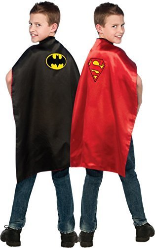 Superhelden Rote Schwarze Und Kostüm - Superman - Batman -Reversible Umhang - Offizielles DC Comics Superheld Childs Abendkleid-Kap. One Size Kinder Medium 29