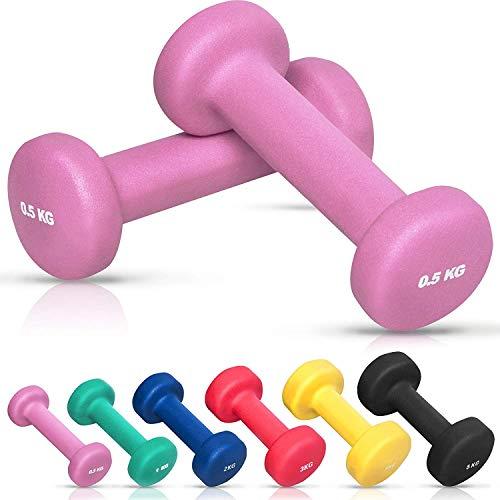 GORILLA SPORTS Kurzhantel-Set Vinyl 1-10 kg für Gymnastik, Aerobic, Pilates Fitness - 2er-Set in 6 Gewichts- und Farbvarianten