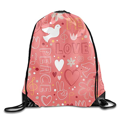 uykjuykj Tunnelzug Rucksäcke, Love Peace Drawstring Backpack Goodie Bags,Promotional Gym Sack for Birthday Party Love peace4 Lightweight Unique 17x14 IN