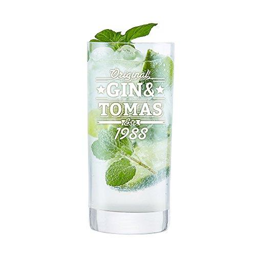 AMAVEL Longdrinkglas mit Gravur, Original Gin und, Personalisiert mit Namen und Jahreszahl, Cocktailglas