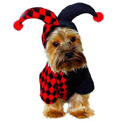 HDE Jester Halloween-Kostüm, Rot und Schwarz, kariert, mit Kapuze und Bommelbällen, Medium, rot (Seine Und Ihre Superhelden Kostüm)