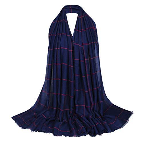 Lazzboy Frauen Ethnischen Abaya Islamischen Muslimischen Nahen Osten Plaid Hijab Wrap Schal Kopfbedeckungen Premium Viskose Maxi Crinkle Cloud Weichen Islam Muslim(E)