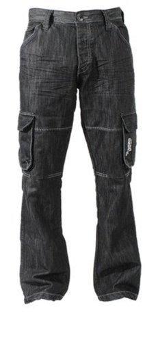 Enzo - Herren Designer Marken Cargo Kampf Arbeit Jeans Hosen ES08 - Dunkelgewaschen, W36 x Kurz (Kurz Denim Herren Arbeit)