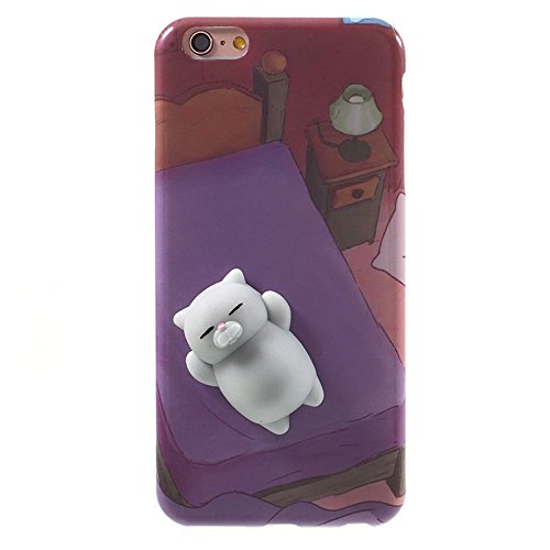 Finger Decompression phone case ,3D Soft Silicone Pinch Squishy Cat TPU Protective Back Cartoon Animal Apple phone Case for iphone 6Plus/6s Plus(5.5-inch) (Lazy rabbit) Lazy Bear