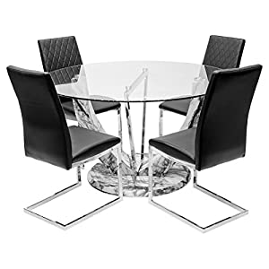Febland Jericho Marble Style Round Table With Six Black Dining Chairs, 140 x 140 x 77 cm