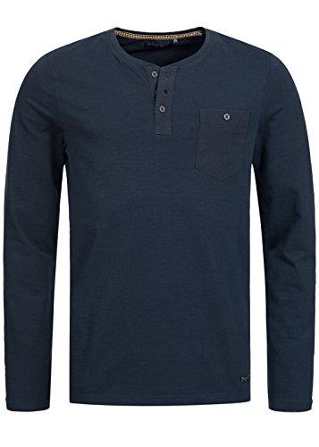 Brave Soul Herren Longsleeve Shirt, Rundhals mit Knopfleiste, Brusttasche, blau Blau