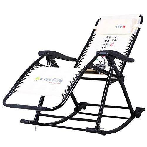 FMEZY Chaises Longues extérieures de transats pliables, Chaise berçante de Jardin Zéro Gravité Chaises Longues Plage Camping Home Lounge Chaise Portable -